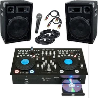 DJ-Anlage / PA-Anlage 1200 mit MP3 Doppel-CD-Player, PA-Verstärker und Mischpult mit USB-Anschluss