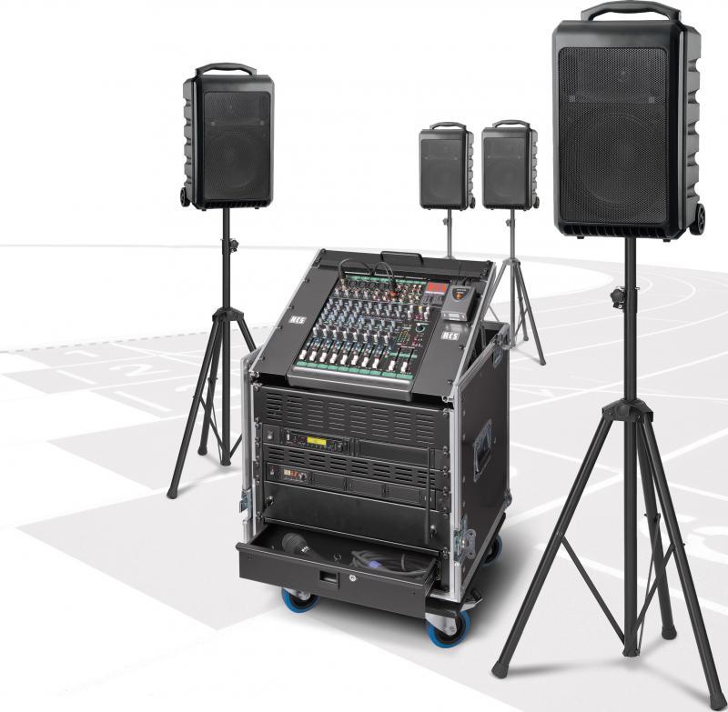 Beschallungsanlage / PA-Anlage PCS-1200W kabellos mit vier Akku-Funklautsprecher