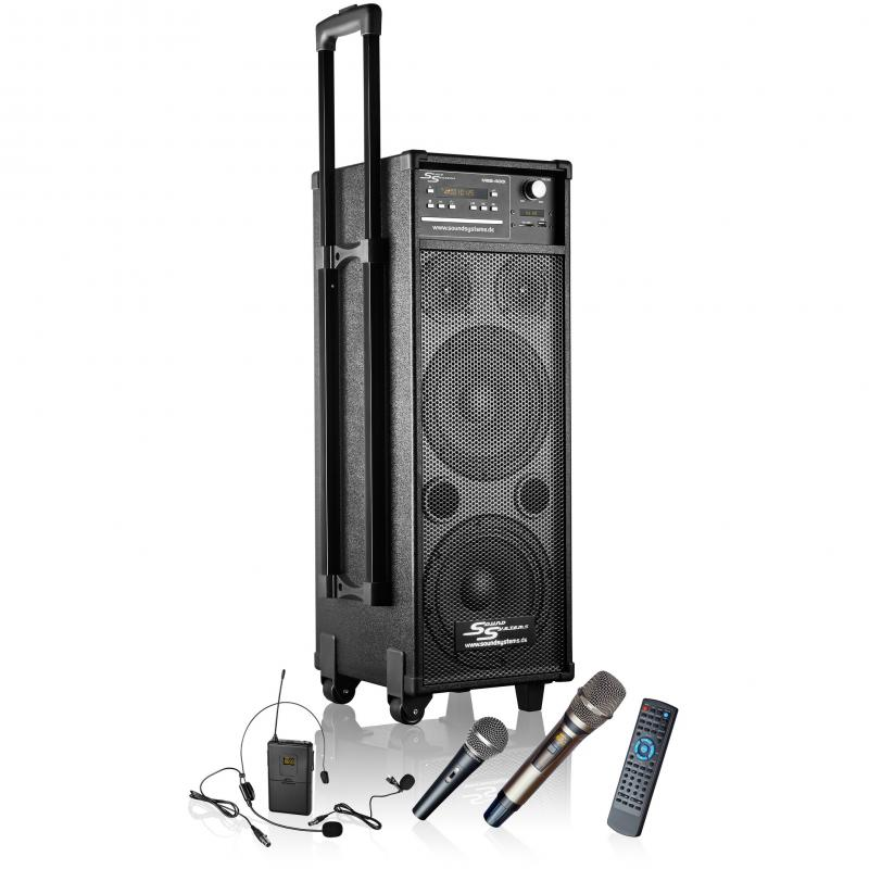Kompakte PA-Anlage MSS-400i mit Akku / Funkmikrofon / Funkheadset / CD / MP3 / DVD / USB / Radio