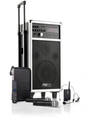 Mobile Musikanlage / Beschallungsanlage MSS-350 mit Akku / Aufnahmefunktion / Funkmikrofon / Funkheadset / CD/MP3/DVD/USB/SD