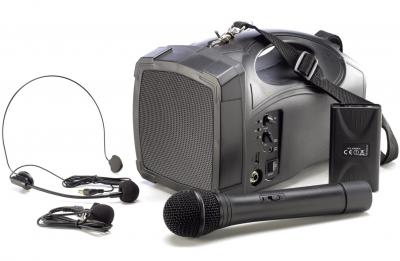 Portable Beschallungsanlage / Tragbarer Sprachverstärker MSS-100i mit Akku / Funkmikrofon / Funkheadset / Bluetooth / USB