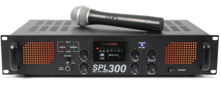 Karaokeverstärker SPL 300VHFMP3 inklusive Funkmikrofonanlage